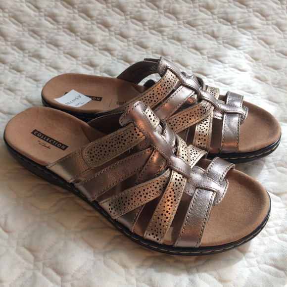 14d91d5982 Clarks Shoes | New Leisa Field Metallic Leather Slide | Poshmark